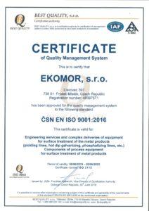 thumbnail of Certificate ISO 9001 EKOMOR