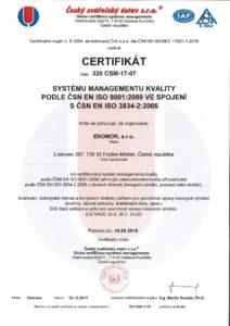 thumbnail of Certifikát svařování kovů ISO 3834-2