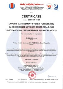 thumbnail of Certificate welding of plastics